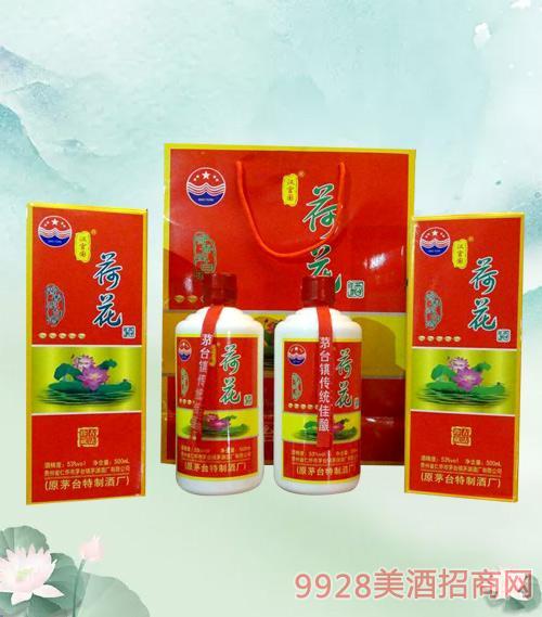 汉富图荷花酒(红盒)53度500ml酱香型白酒礼盒