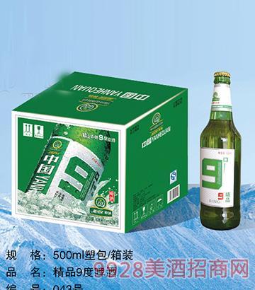 精品9度啤酒500ml塑包、箱装
