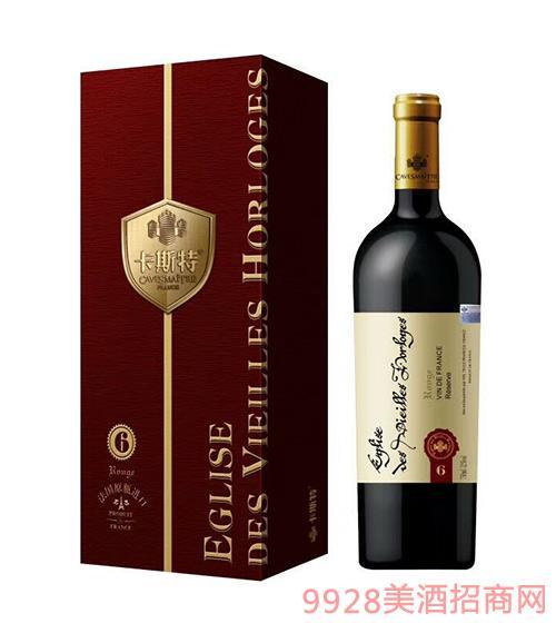 法国卡斯特戴维斯珍藏6干红葡萄酒12度750ml