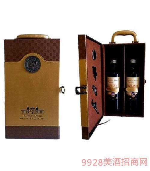 双支皮盒礼盒葡萄酒