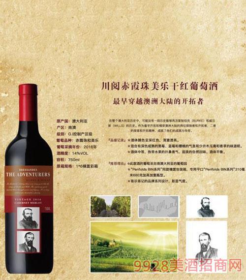 川阅赤霞珠美乐干红葡萄酒14度750ml1x6