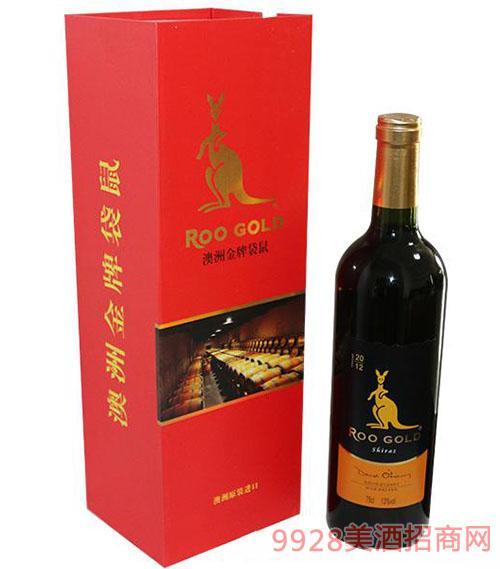 澳洲金 牌袋鼠红酒13度750ml