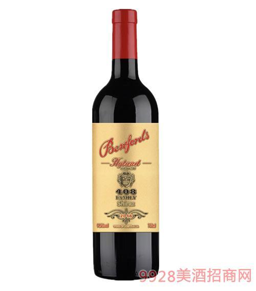 奔富海蘭酒莊家族牌408西拉干紅葡萄酒14.5度