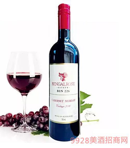 新升级尊贵版2016玫瑰红bin226赤霞珠梅洛红葡萄酒