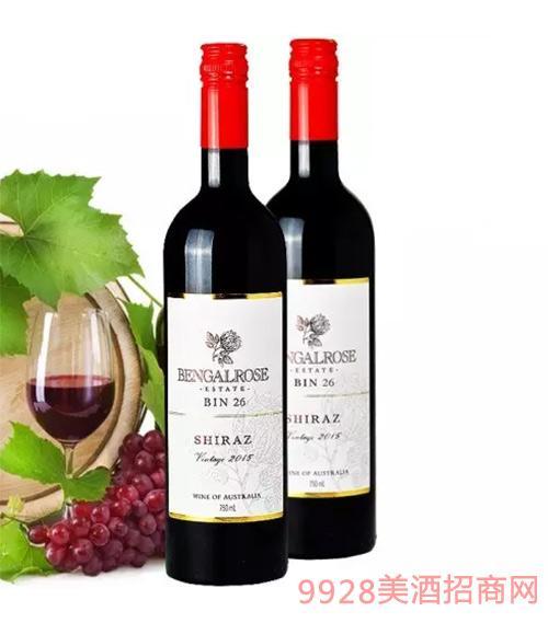 2015玫瑰红bin26西拉子红葡萄酒