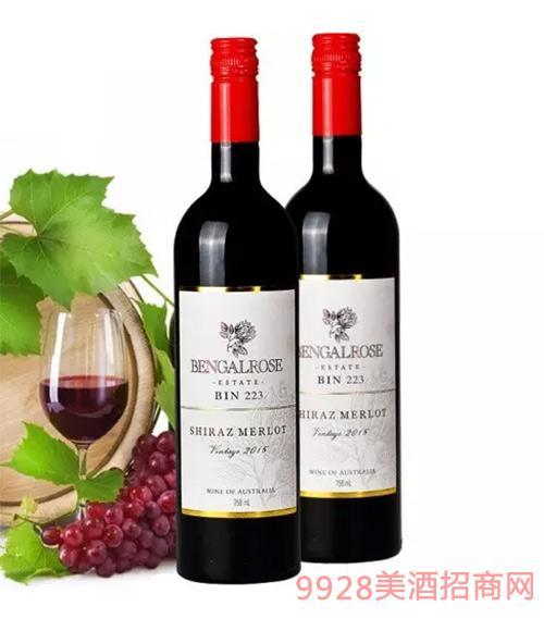 2015玫瑰红bin223西拉子梅洛红葡萄酒