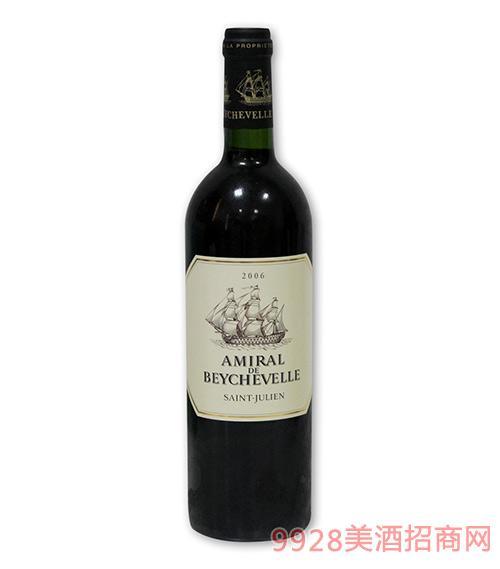法国波尔多龙船将 军红葡萄酒
