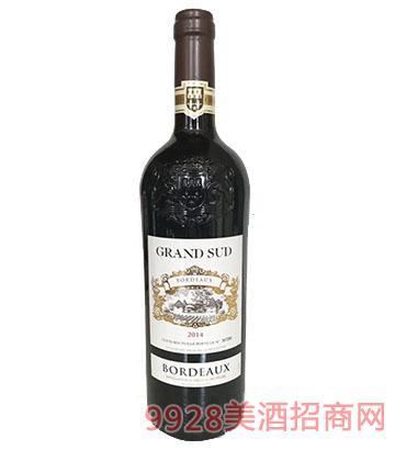 法国格兰苏波尔多干红葡萄酒750ml