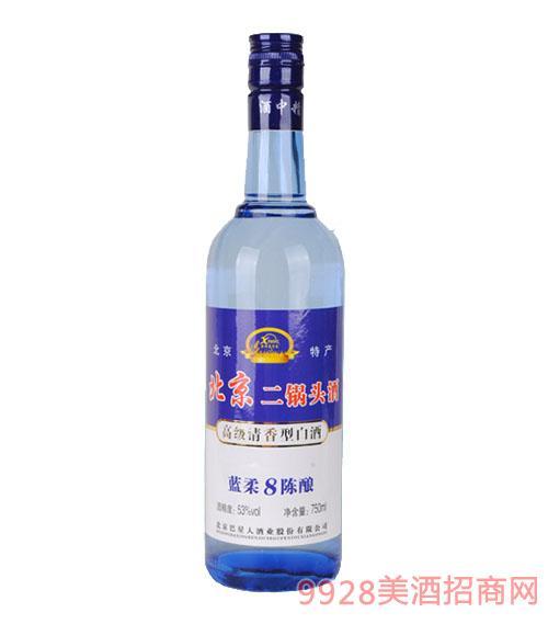 北京二锅头蓝柔陈酿8酒53°750ml白标