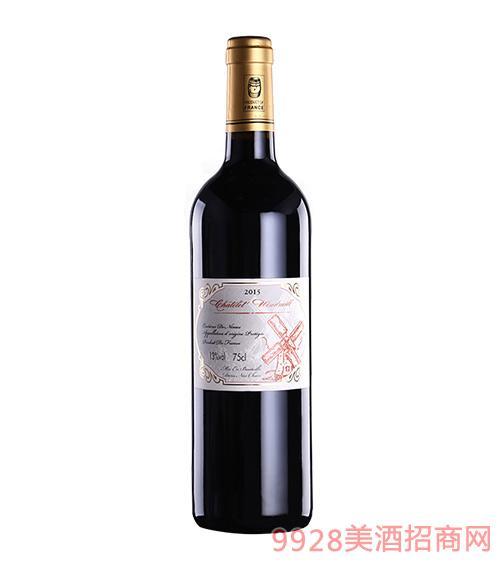法国风车城堡红葡萄酒
