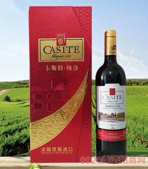 13度法国卡斯特梅洛红葡萄酒
