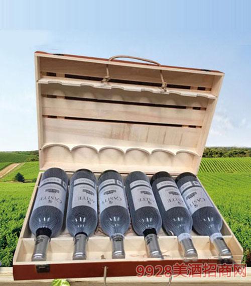 法国GASITE赤霞珠干红葡萄酒(木箱)