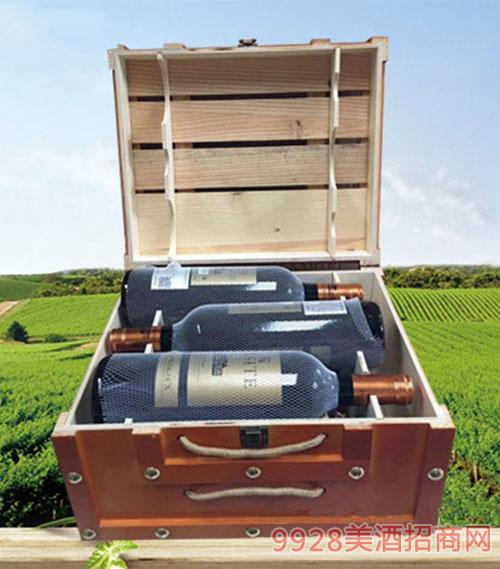 法国GASITE马尔贝克干红葡萄酒(木箱)