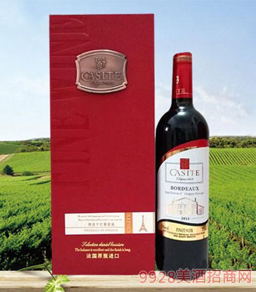 法国卡斯特黑比诺红葡萄酒13度