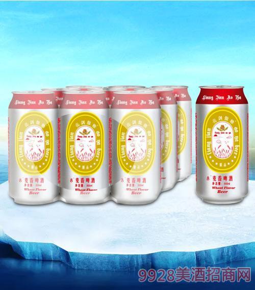 亮剑麦香啤酒500ml塑包-易拉罐