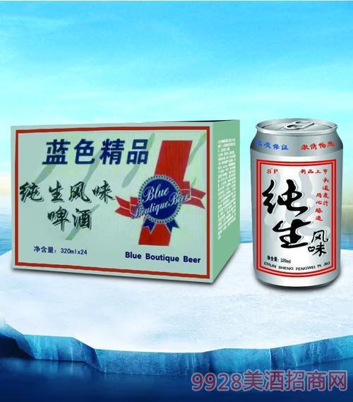 亮剑啤酒蓝色精品纯生风味啤酒320ml-易拉罐
