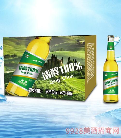 青杰清醇啤酒330ml瓶啤