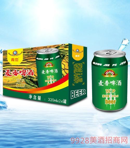 青杰麦香啤酒320mlx24-易拉罐