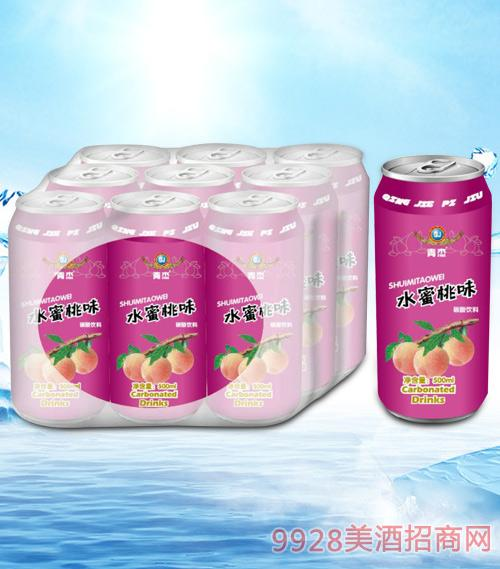 青杰水蜜桃果味碳酸饮料500mlx9