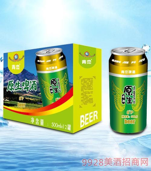 青杰原生啤酒箱装500mlx12-易拉罐