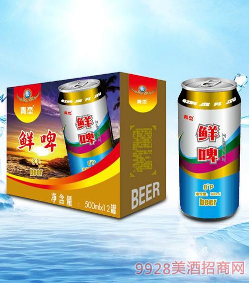 青杰鲜啤啤酒箱装500mlx12-易拉罐