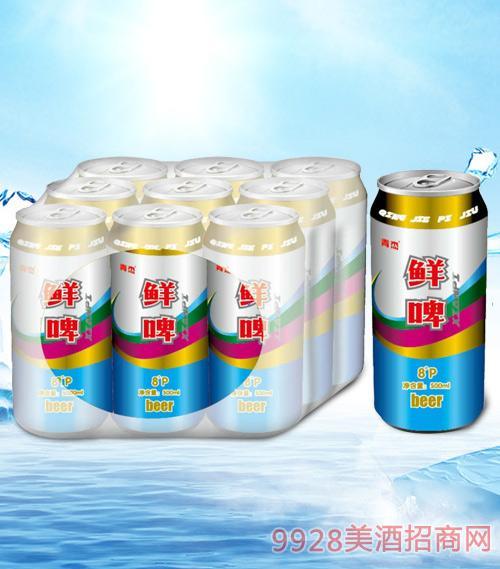 青杰鲜啤啤酒罐装500mlx9-易拉罐