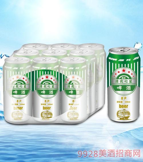 青杰清爽七星啤酒罐装500mlx9-易拉罐