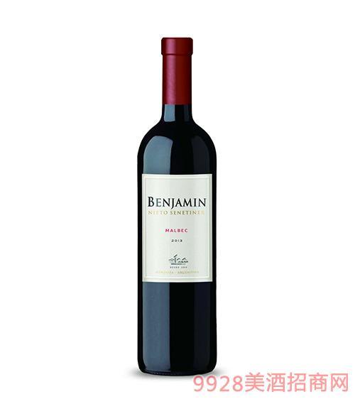 阿根廷尼托圣蒂尼本杰明马尔贝克红葡萄酒