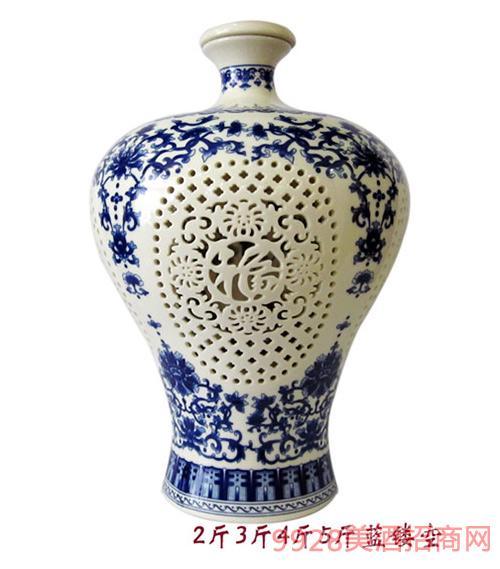 财神酒2斤5斤蓝瓷坛镂空