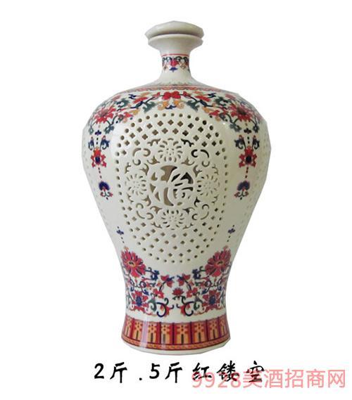 财神酒2斤5斤红瓷坛镂空