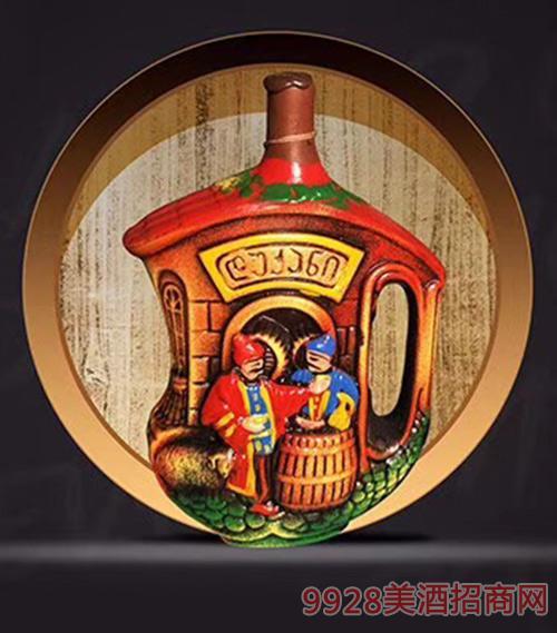 格鲁吉亚萨佩拉维KV61半甜型葡萄酒陶罐装12度1000ml