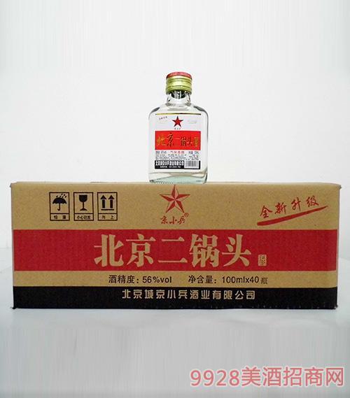 京小兵北京二锅头酒56度100mlx40白瓶