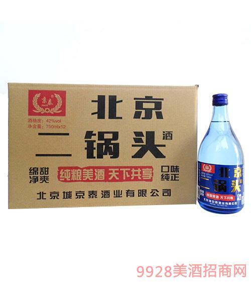 京泰北京二锅头酒42度750mlx12箱装