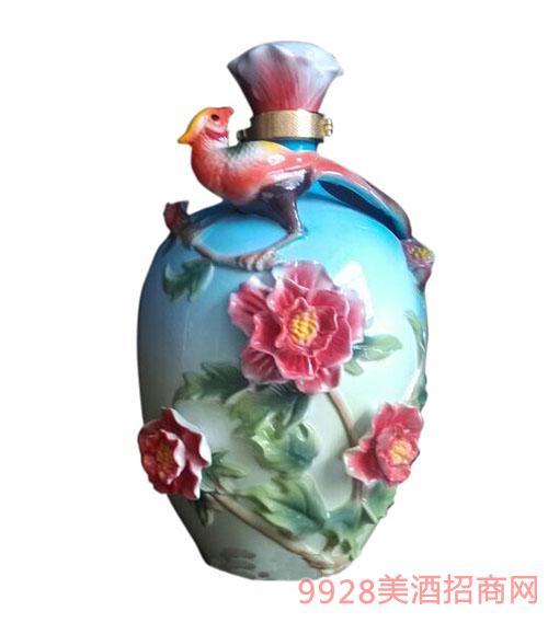 8斤琺瑯瓷花開富貴酒