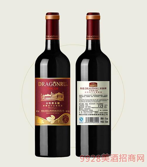 鲁龙酒庄家族牌金版橡木桶赤霞珠干红葡萄酒OAK328