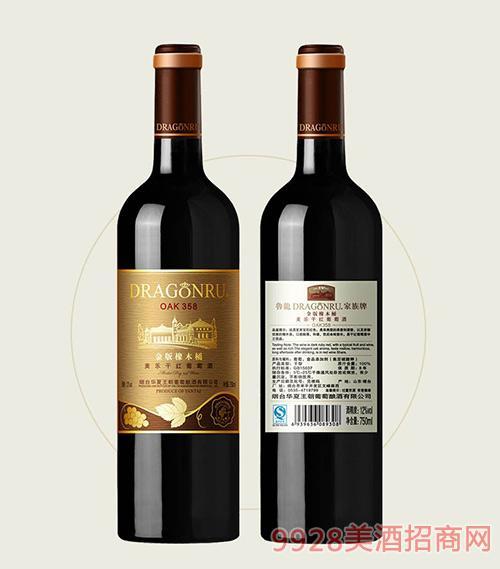 鲁龙酒庄家族牌金版美乐干红葡萄酒OAK358