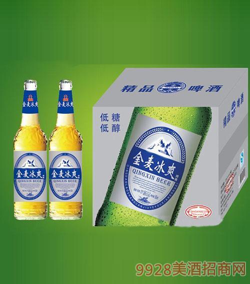 崂山泉啤酒500ml金麦冰爽白瓶1x12招商_青岛崂山泉-美
