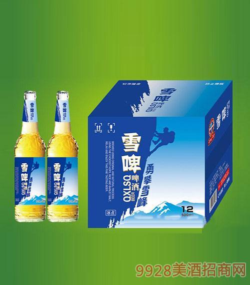 崂山泉啤酒500ml白瓶雪啤1X12