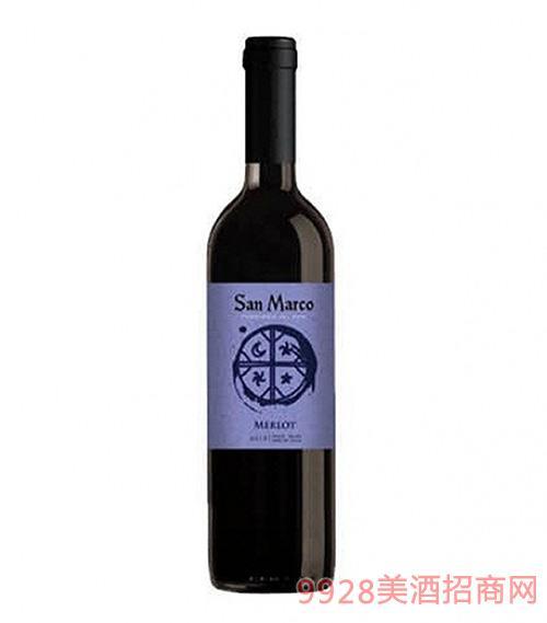 智利圣马可美乐干红葡萄酒13.5度750ml