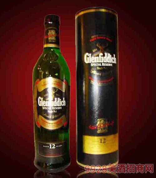 英国格兰非迪12年麦芽威士忌酒