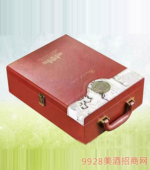 德索曼双支红皮盒