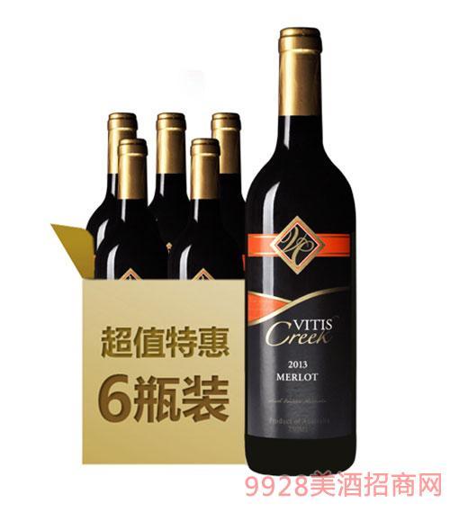 澳大利亚葡缇梅洛干红葡萄酒6支装