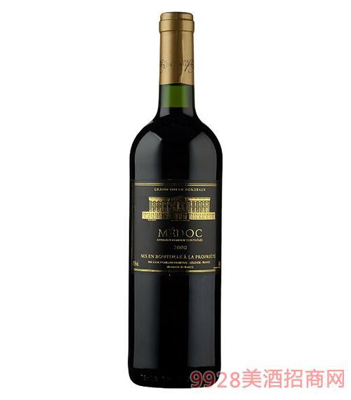 法国梅多克堡红葡萄酒12.5度750ml