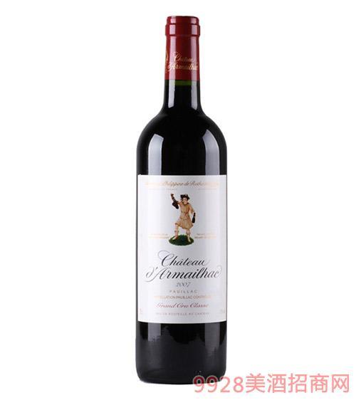法国达玛雅克城堡2007(单公仔)干红葡萄酒13度750ml