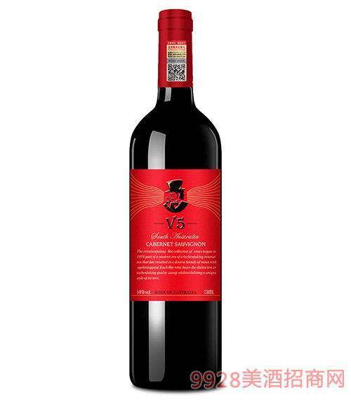 克里斯奔富酒王V5干红葡萄酒13度750ml