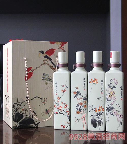梅兰竹菊酒(方瓶)礼盒