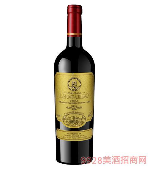 里昂纳多老人头西拉干红葡萄酒(纸标)
