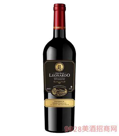 里昂纳多老人头黑珍珠干红葡萄酒(纸标)