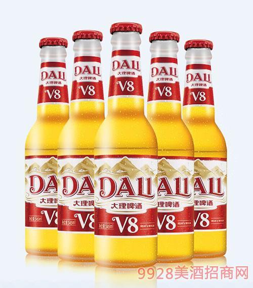 大理啤酒V8瓶�b345ml