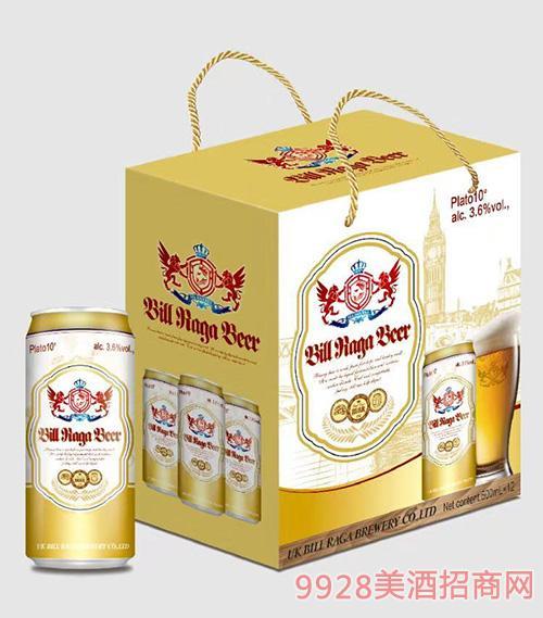 10度比尔拉格黄啤酒12罐500ML带绳